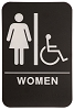 6 x 9 Black/White WOMEN (w/wheelchair) ADA Sign