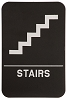6 x 9 Black/White STAIRS ADA Sign