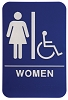 6 x 9 Blue/White WOMEN (w/wheelchair) ADA Sign