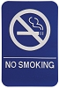 6 x 9 Blue/White NO SMOKING ADA Sign