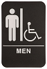 6 x 9 Black/White MEN (w/wheelchair) ADA Sign
